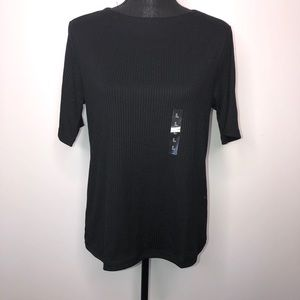 Uniqlo Black Short Sleeve Ribbed Crew Neck T-Shirt
